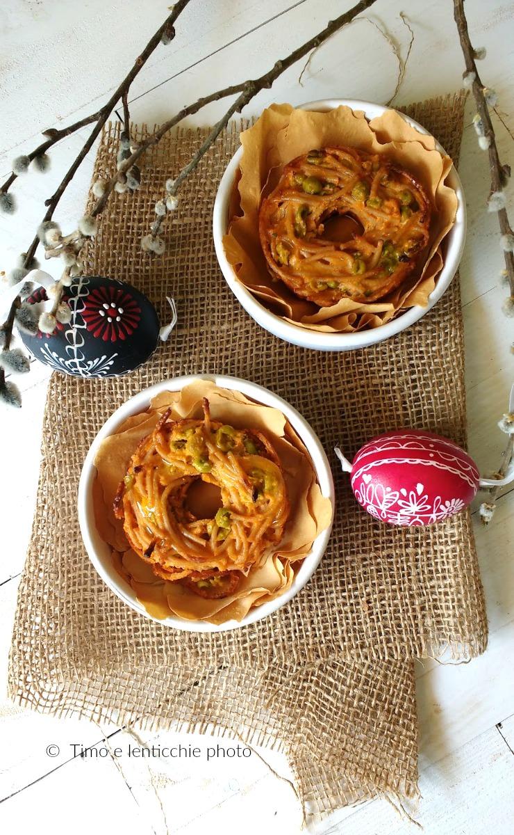 Nidi di primavera spaghetti integrali e piselli 2