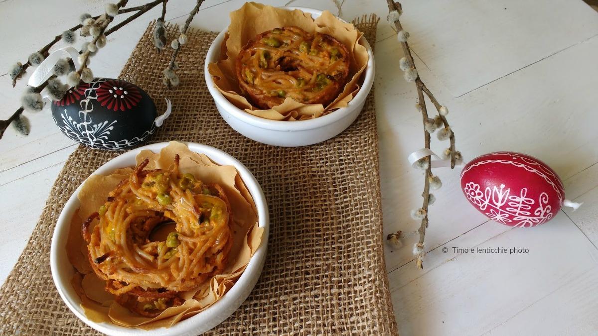 Nidi di primavera spaghetti integrali e piselli 4
