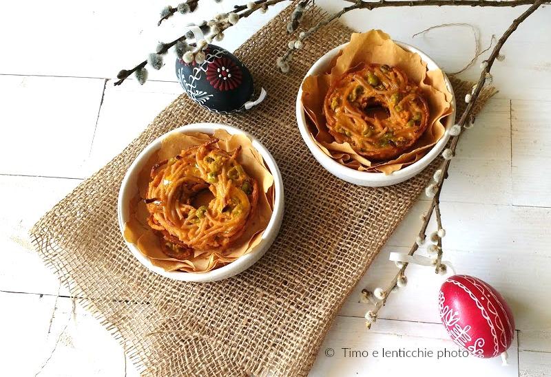 Nidi di primavera spaghetti integrali e piselli 3