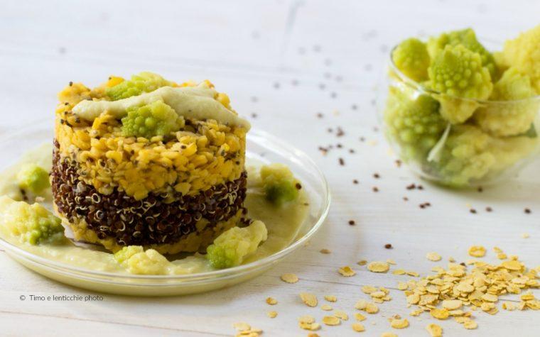 Tortino bicolore alla quinoa rossa ceci e broccolo