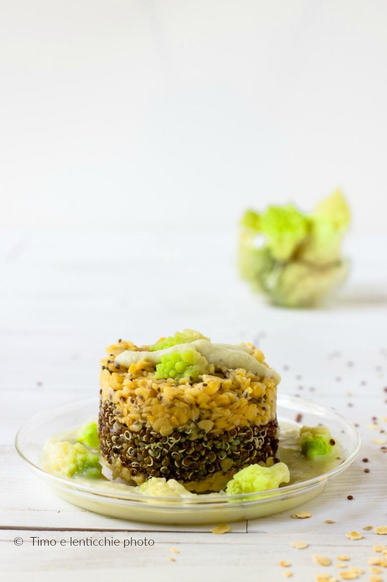 Tortino bicolore alla quinoa rossa ceci e broccolo 1
