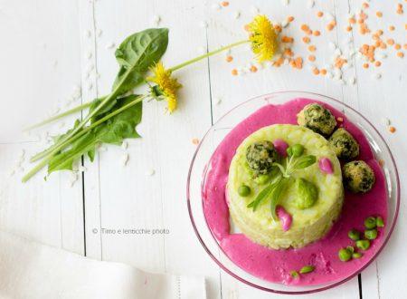 Mini sartù di riso in bianco con verdure ricetta vegetariana