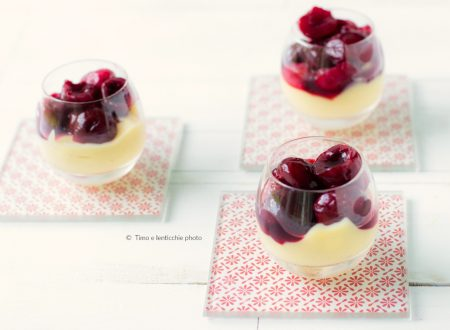 Bicchierino di crema veg e ciliegie scottate