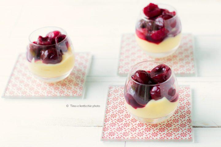 Bicchierino di crema veg e ciliegie scottate 1