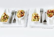 Cous cous in finger food piselli e pomodorini secchi