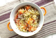 Insalata di quinoa con carote pompelmo e germogli