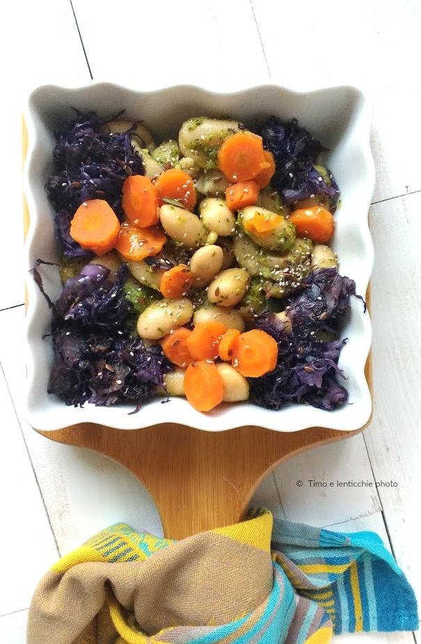 Fagioli di Spagna carote glassate e cavolo rosso 1