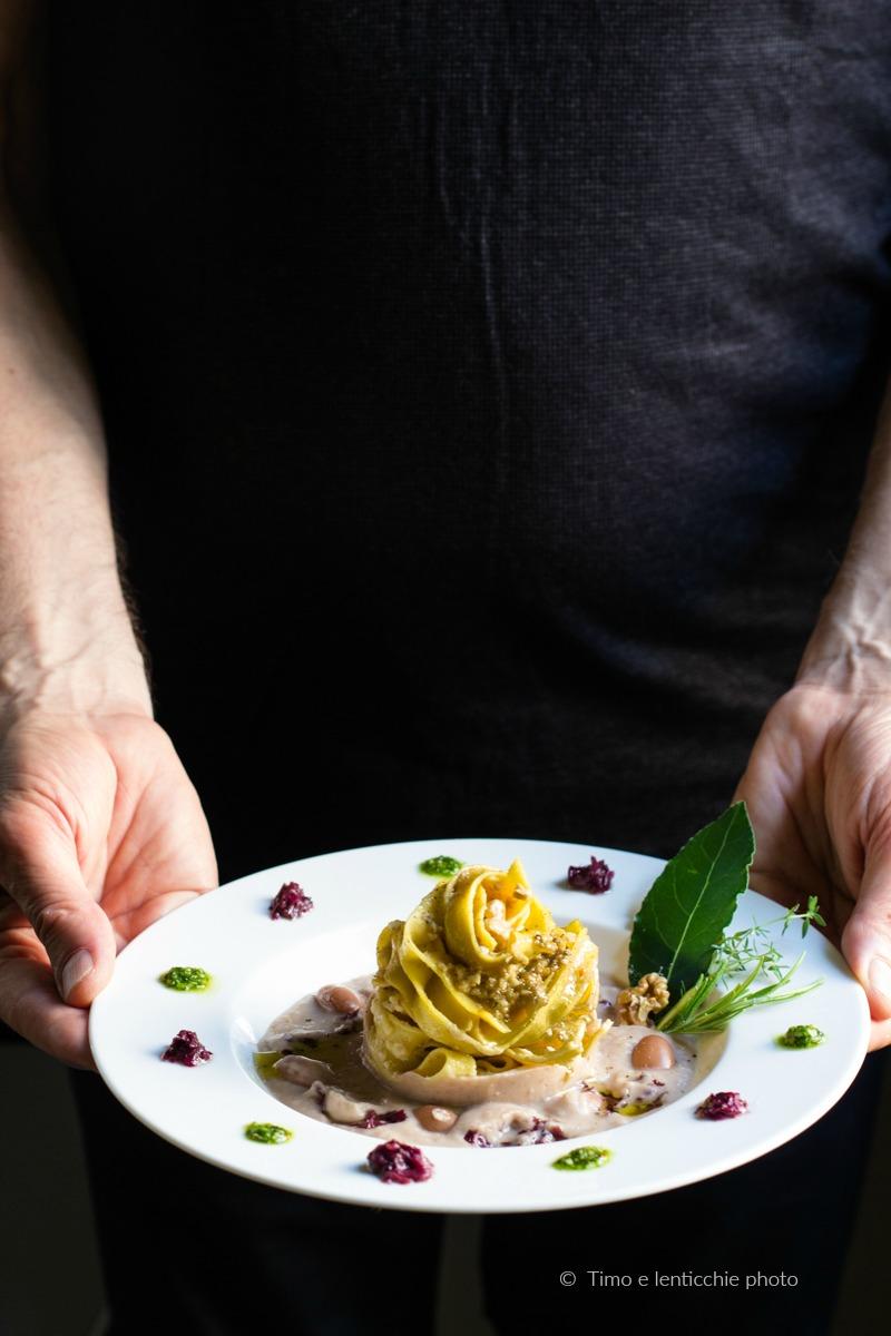 Tagliatelle con fagioli ricetta vicentina rivisitata con noci e radicchio 1