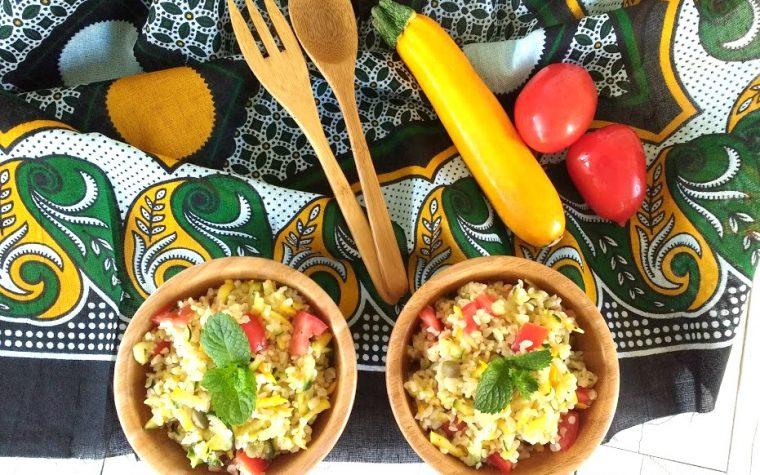 Taboulè di verdure estive e zucchine gialle