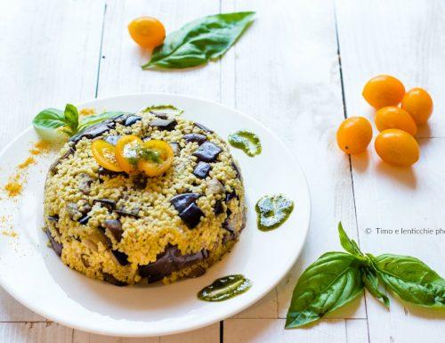 Miglio con melanzane al funghetto e pomodorini gialli