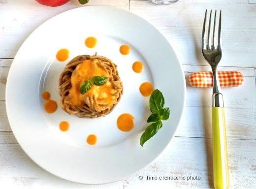 Spaghetti di grano saraceno alla crema di peperoni