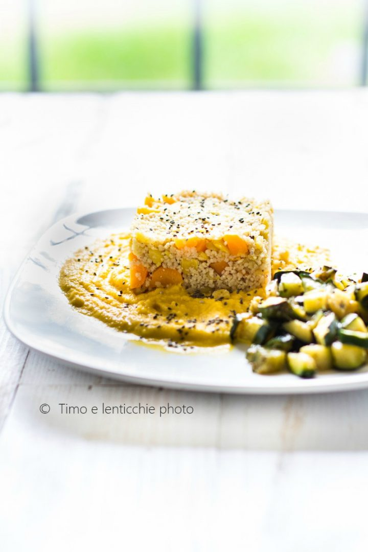 Cous cous integrale alle verdure su crema di lenticchie 1