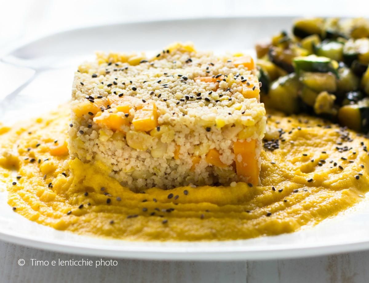 Cous cous integrale alle verdure su crema di lenticchie 3