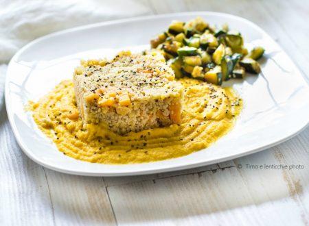 Cous cous integrale alle verdure su crema di lenticchie