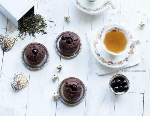 Muffin al doppio cioccolato e amarene