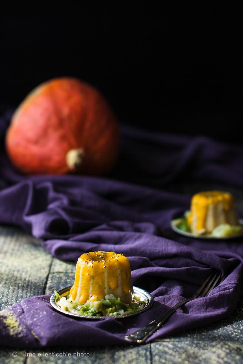 Polentina di pignoletto d'oro ai funghi e crema di zucca