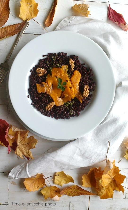 riso nero zucca e noci