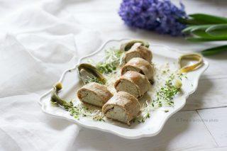 Roll di crepes al miglio ripiene di carciofi noci e tofu