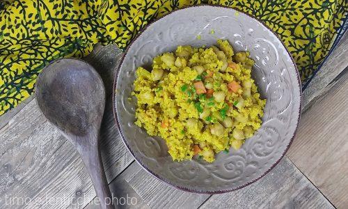 Miglio al curry con ceci e verdure