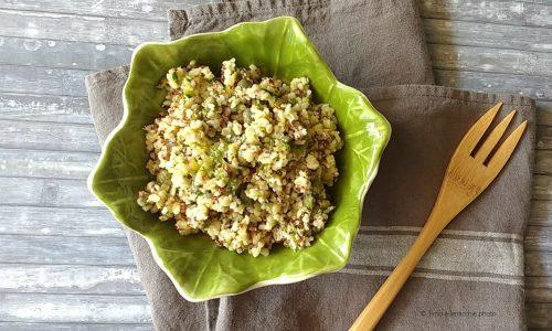 Quinoa all'hummus zucchine e capperi