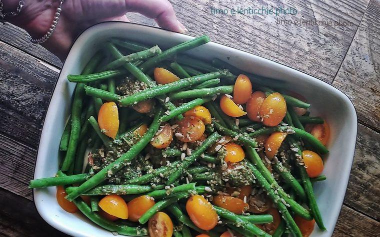 Fagiolini al forno e pomodorini gialli