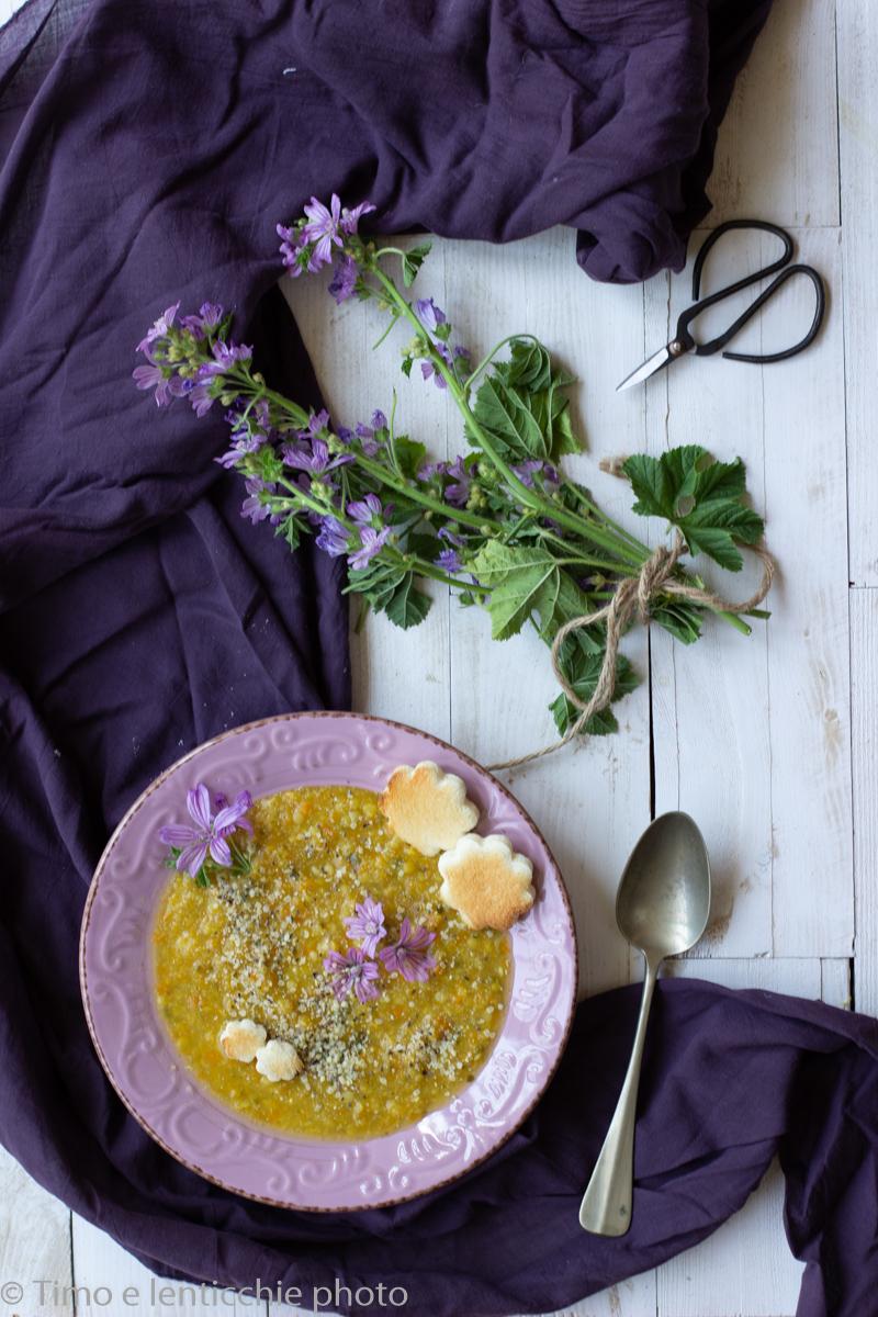 Zuppa di amaranto e lenticchie alla malva