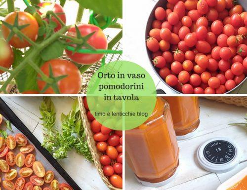 Orto in vaso pomodorini in tavola