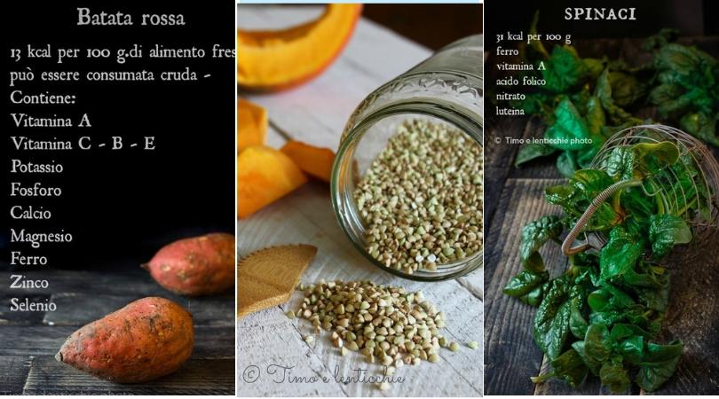 Zuppa di grano saraceno batata e spinaci