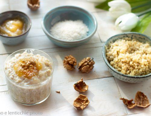 Pudding di quinoa pere e noci
