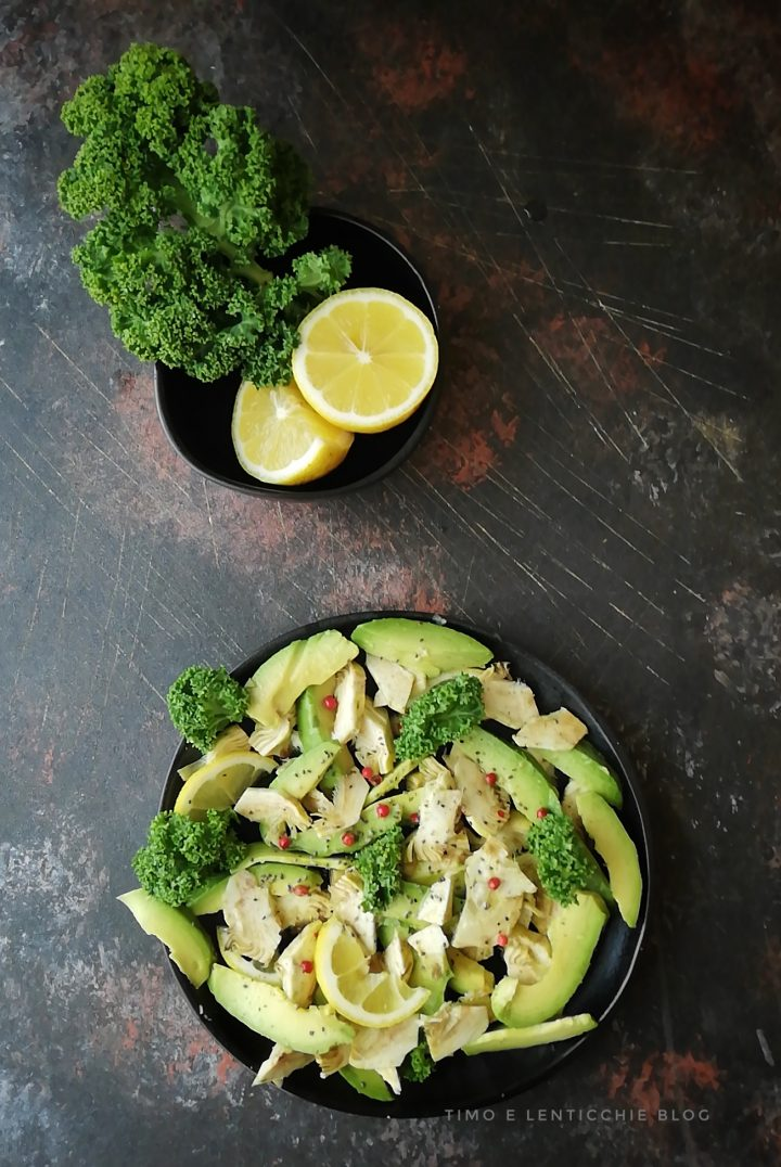 insalata carciofi avocado raw 1