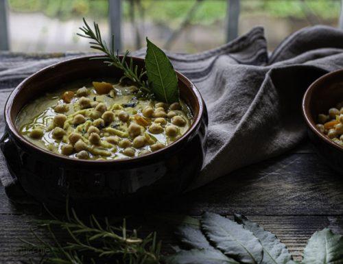 Pasta e ceci tradizionale con tagliolini versione cremosa