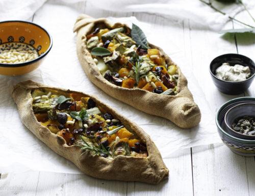 Pizza turca vegetale- turkish pide – pida vegana
