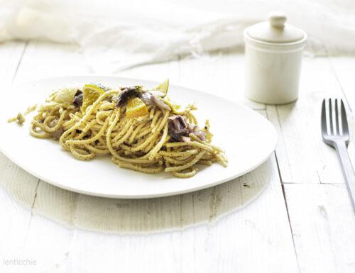 Spaghetti carciofi radicchio e arancia