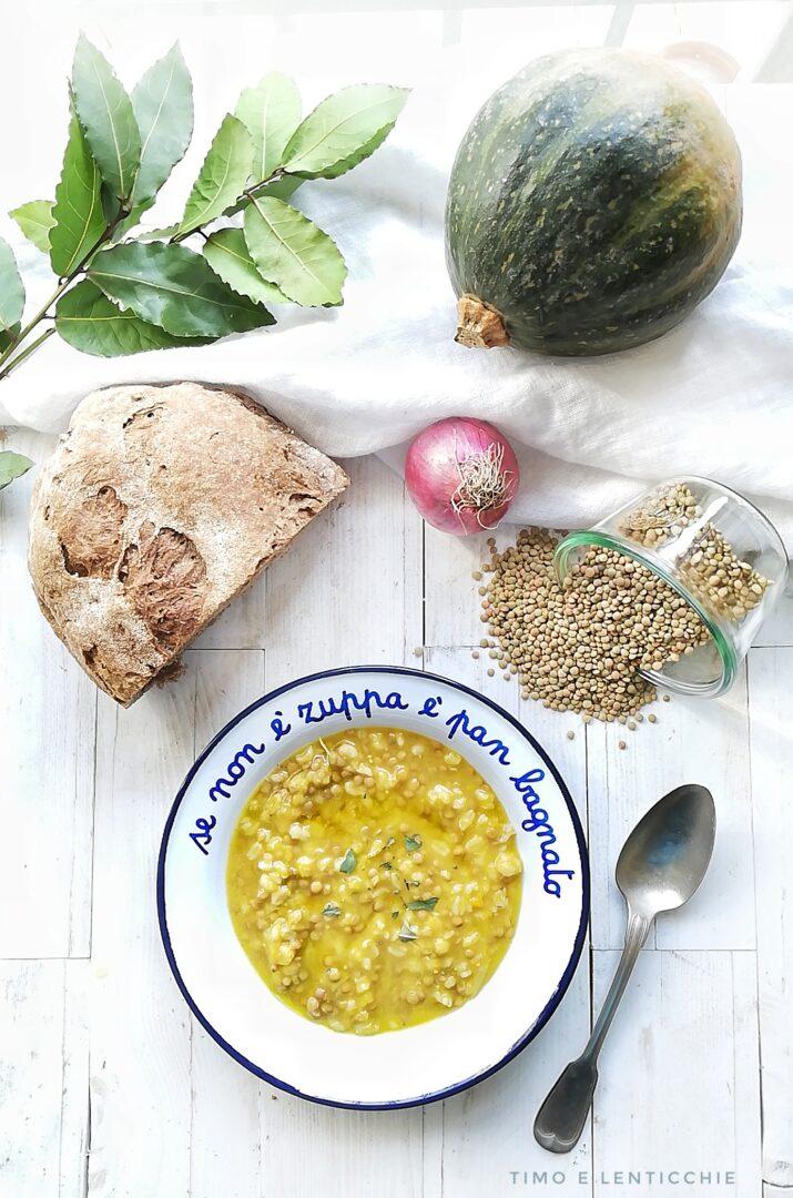 Zuppa orzo lenticchie e zucca