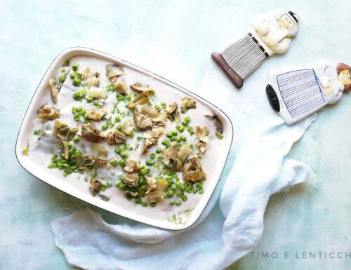 Lasagne piselli e carciofi al forno ricetta vegetale
