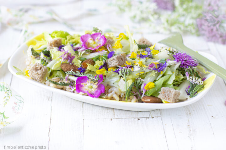 insalata d'orzo e fiori di montagna