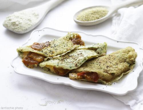 Crepes di miglio e zucchine ripiene di peperoni