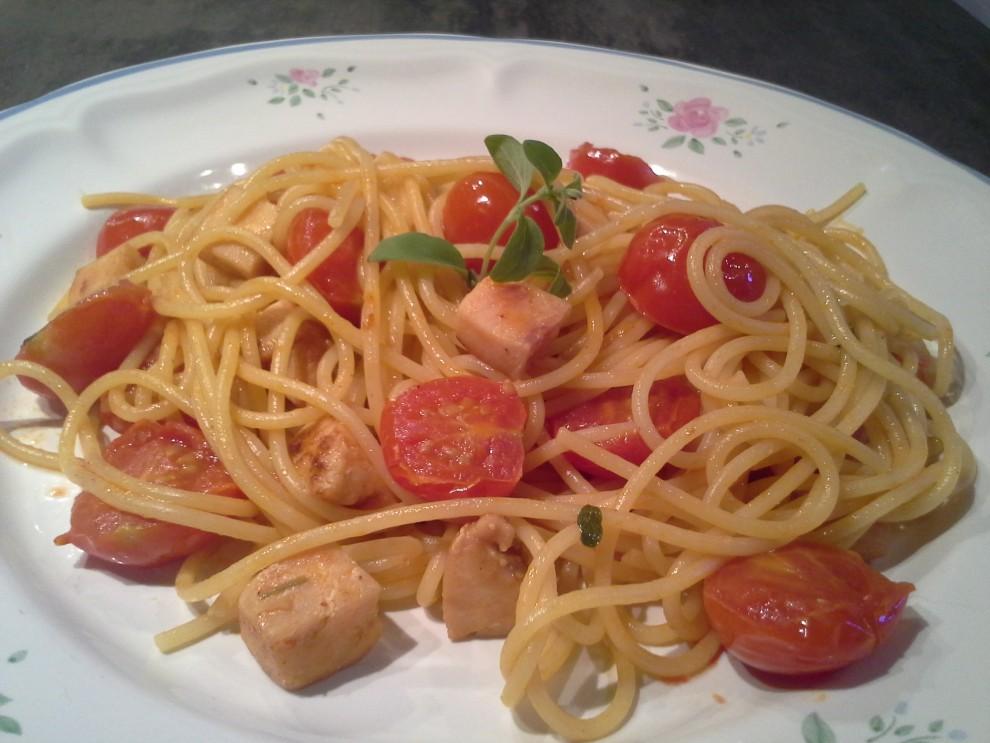 spaghetti spada pomodorino alla maggiorana