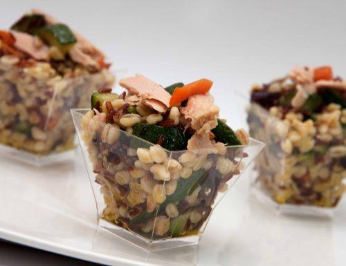 Orzo perlato riso rosso e filetti di tonno