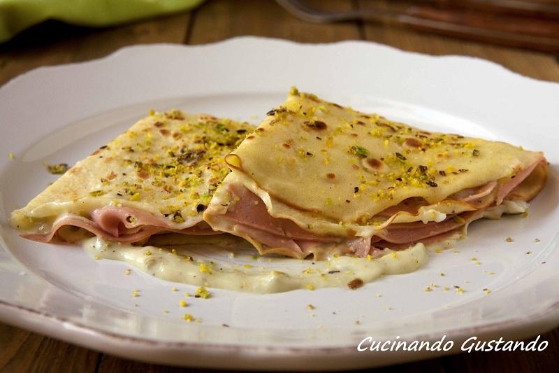 Crepes pistacchio e mortadella