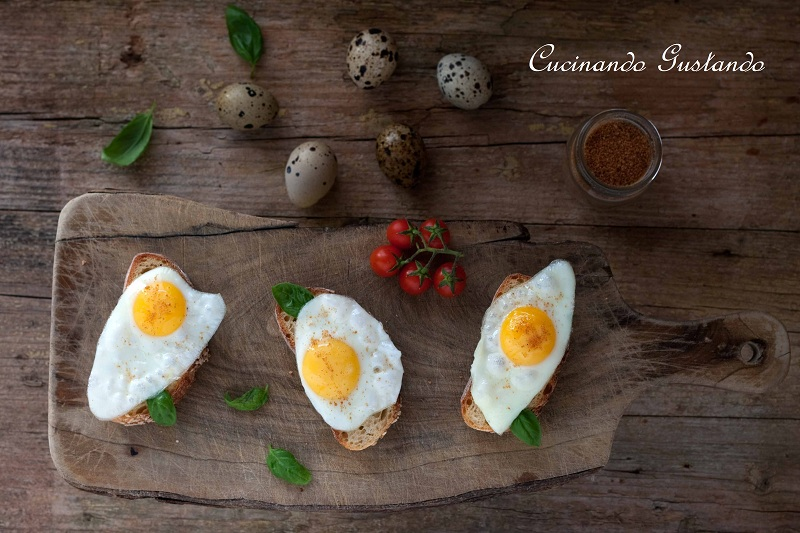 Bruschette di uova di quaglia e bottarga