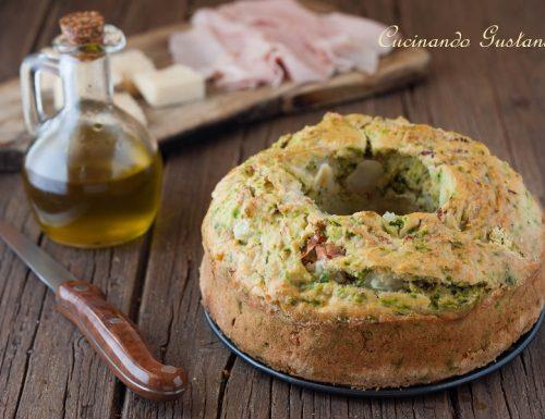 Ciambella salata con spinaci prosciutto e formaggio