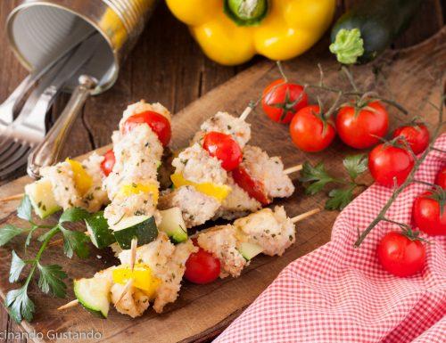 Spiedini di pesce spada e verdure di stagione