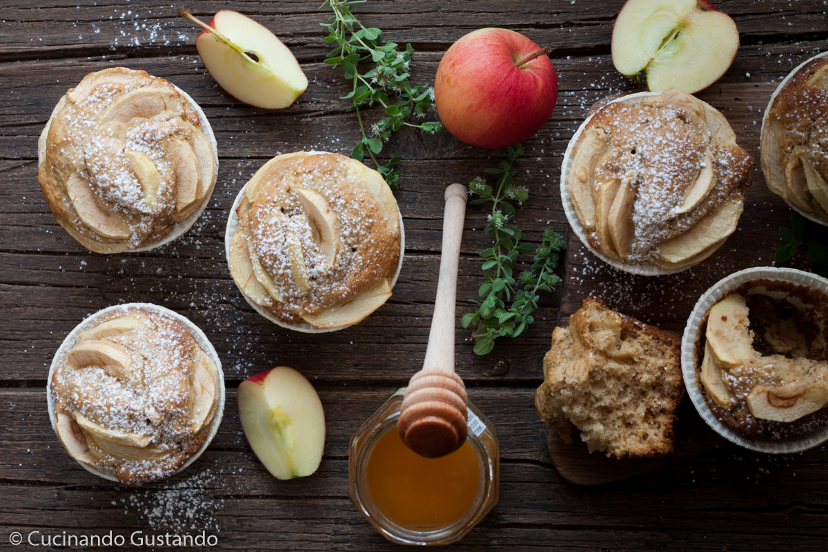 Muffin integrali mele e miele senza zucchero e burro