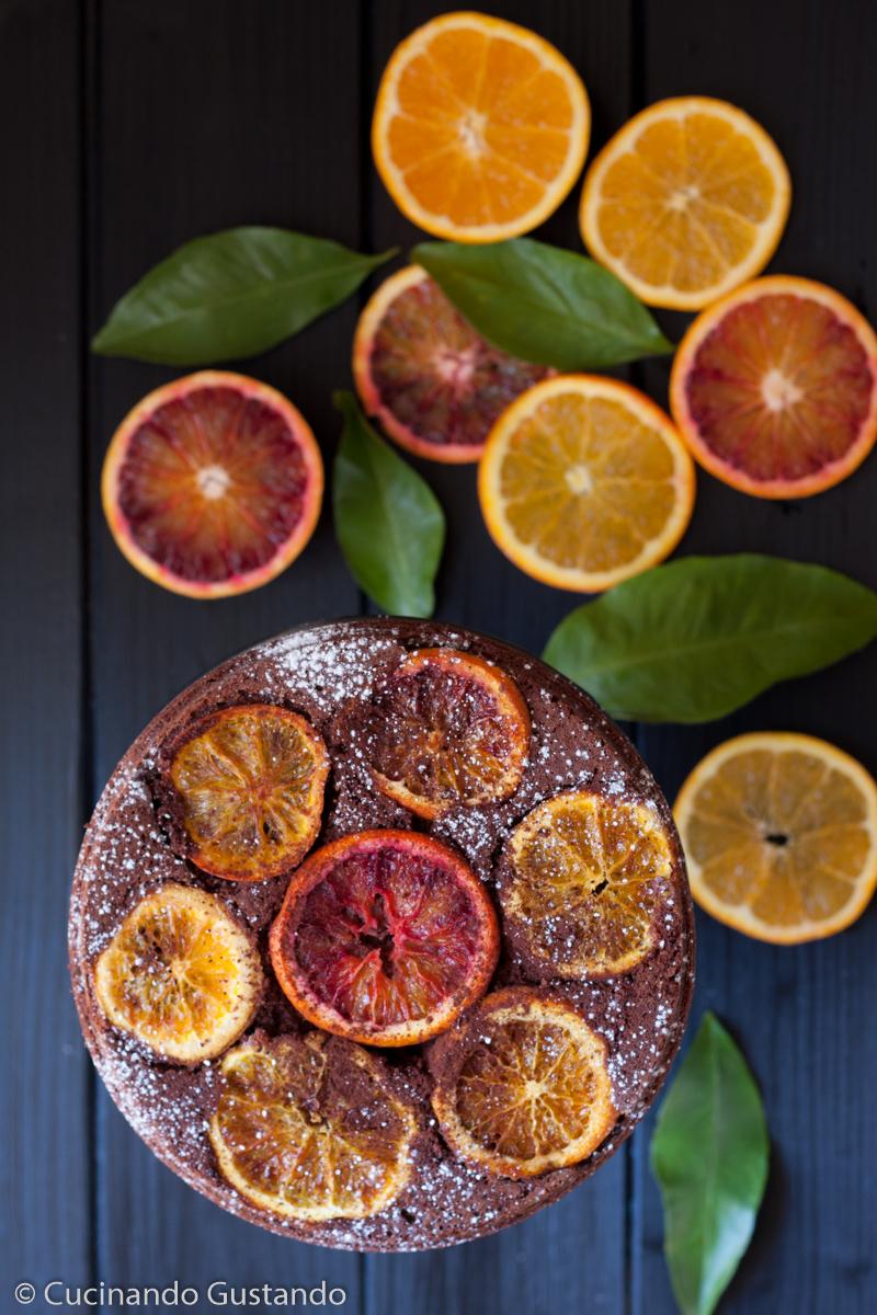 Torta cioccolato e arance senza burro capovolta
