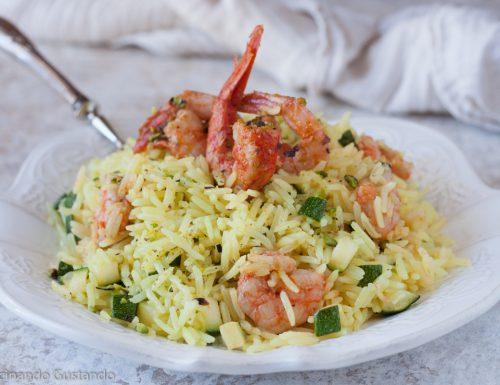 Insalata di riso zucchine e gamberi