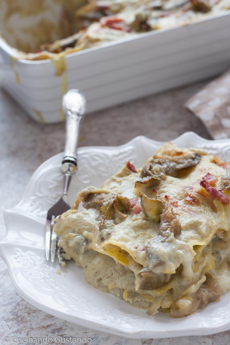 Lasagne carciofi speck e formaggio