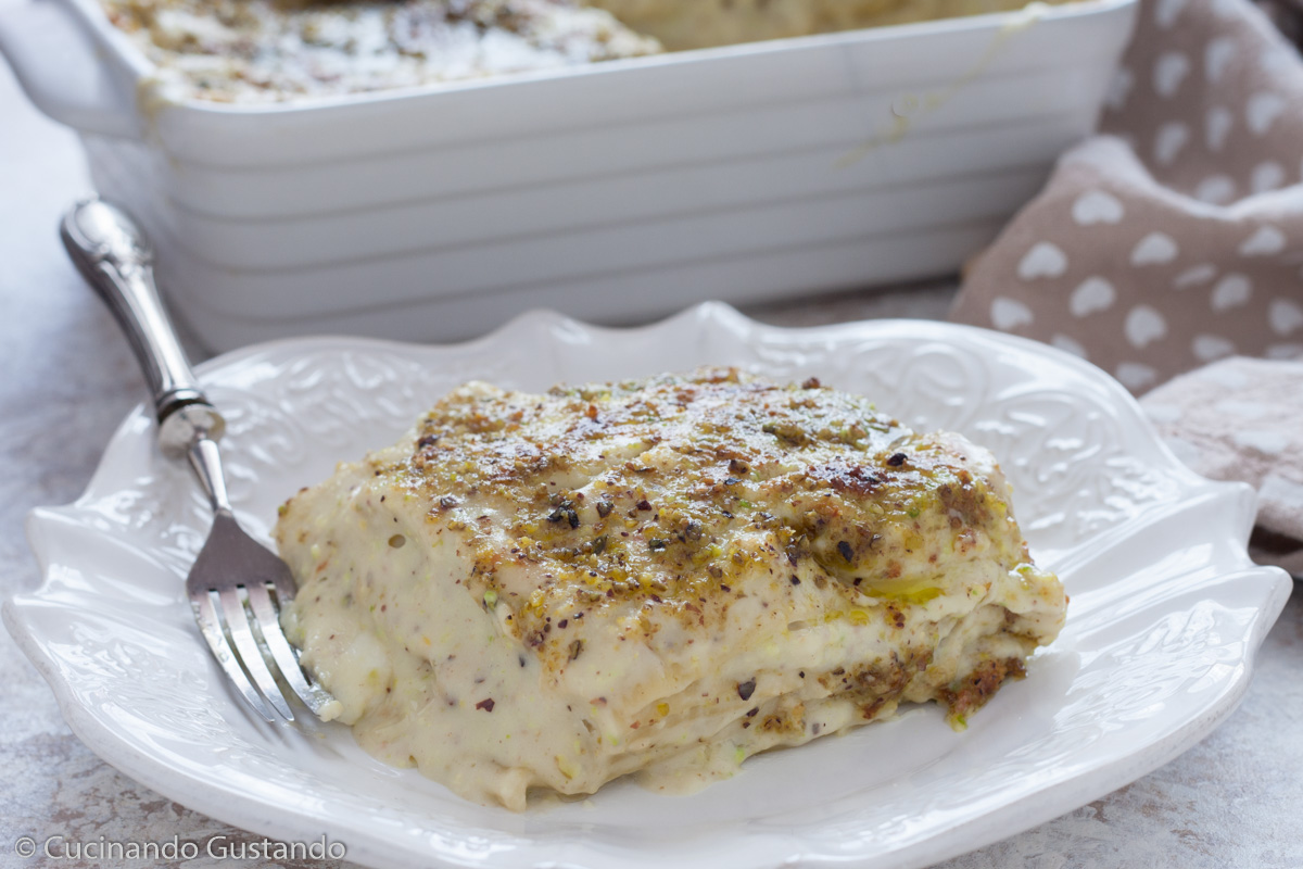 Lasagne al pesto di pistacchi e speck