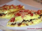 Crepes funghi radicchio formaggio e speck
