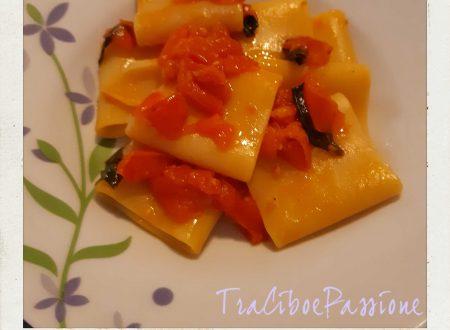 •Schiaffoni Con Pomodorini Ciliegino e Foglie di Basilico Fresco•